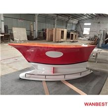 New Design Artificial Stone Solid Surface Boat Shape Curved Home Mobile Small Nightclub Pub Wine Bar Counter Reception Desk Made in China