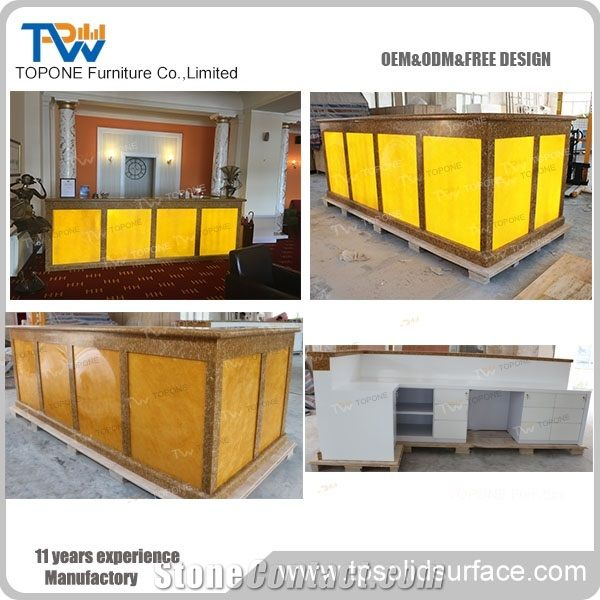 Gold Color Factory Artificial Marble Stone Reception Desk Tops Interior Acrylic Solid Surface Counter Design Oem Size