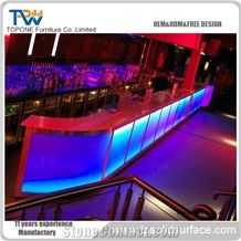 Led Bar Counter Hot Sell Amazing Led Interior Design Artificial Marble Stone Furniture Bar Counter