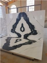 Crystal Marble, Black and White Marble, Panda White Marble, Bookmatched Black & White Crystal, Iran Calacatta White, White Marble