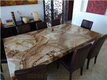 Stone Wood Pomomino Quartzite Interior Table Tops,Brown Quartzite Tabletops for Dinning