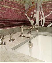 Dolce Vita Quartzite Bath Tub Deck, Surround and Glass Mosaic Wall