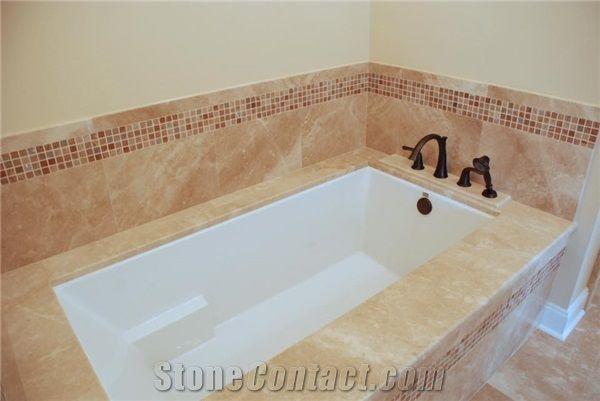 Verona Cream Limestone Bath Tub Deck, Glass Mosaic Front Surround ...