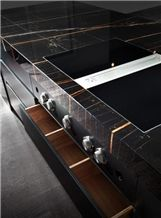 Sahara Noir Marble Kitchen Countertop
