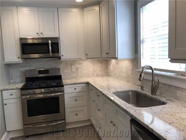 White Ice Granite Kitchen Countertop Renovation From