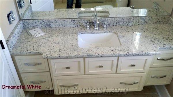 White Ornamental Granite Bathroom Vanity Top