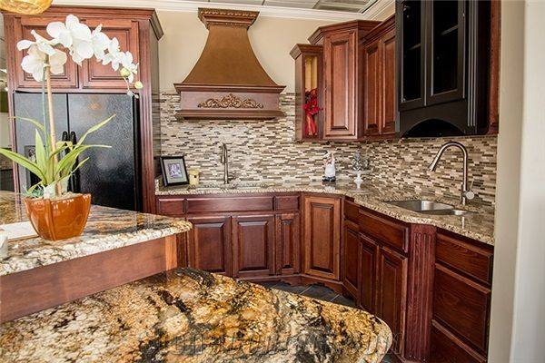 Kitchen Island With Golden Crystal Granite Paired With