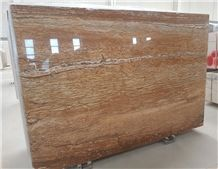 Travertino Legno, Wood Grain Travertine Polished Slabs with Special Price