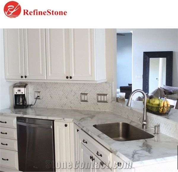 Italy White Marble Kitchen Countertop Polished Sink Table Top