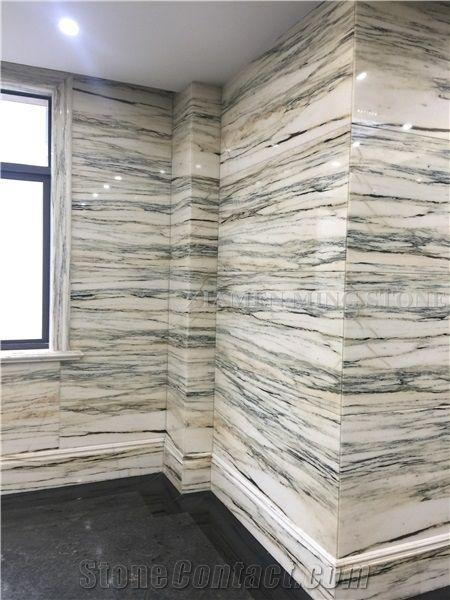 Bamboo White Wooden Marble Polished Marble Slabs with Green