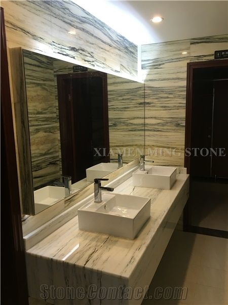 Bamboo White Wooden Marble Polished Marble Slabs with Green Veins