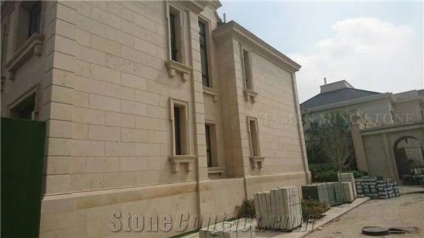 China Beige Limestone Coral Stone Tiles Panel Villa