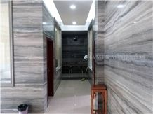 Silver Serpeggiante Ocean Blue Limestone Polished Slabs Tile, Cutting Panel for Interior Wall Cladding,Lobby Floor Covering Pattern