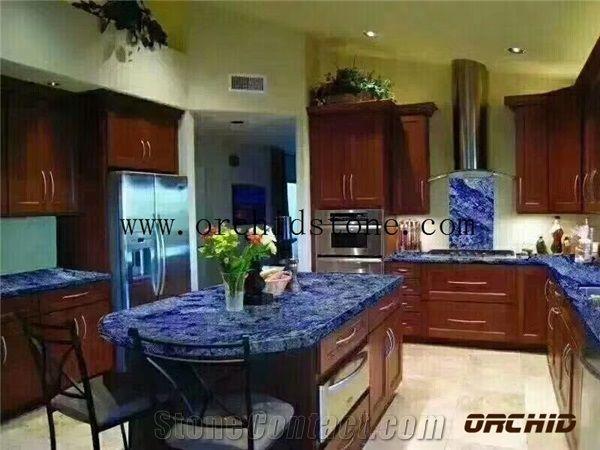Blue Sodalite Granite for Kitchen CountertopsDinning Table Tops Blue Stone for Interior DecorationRoyal Azul Granite Bartop & Blue Sodalite Granite for Kitchen CountertopsDinning Table Tops ...