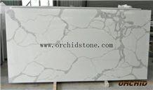 Grade a Bianca Calacatta Carrara Quartz Stone Flooring Tiles,Statuario Altissimo Look Artificial Marble,White Jade Engineered Stone Wall Cladding Tile