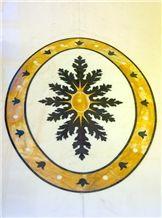 Rosa Portogallo with Giallo Sienna Marble Waterjet Floor Medallion