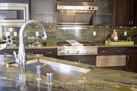 Verde Bamboo Quartzite Kitchen Countertop From United States Stonecontact Com