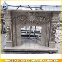 Delicate Carved Rose Grey Marble Fireplace for Indoor Plans