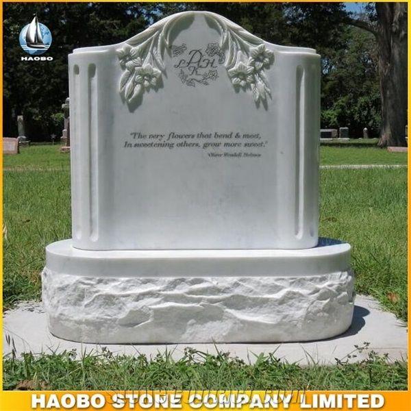 European Style Tombstone Polished White Marble Headstone