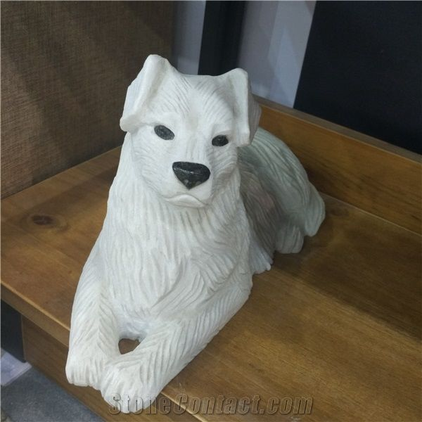 Granite Dog Carving, Outdoor Stone Sculpture, Animal