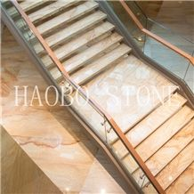 Haobo China Quarry Natural Stone Good Price High Polished and Quality Customized Luxury Golden Marble Stair Steps Design for Indoor Decoration