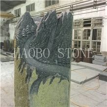 Unique Large China Seller Natural Stone Quarry Good Service and Price Haobo New Creative Designs Carved Landscape Basalt Headstones for Cemetery Price