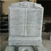 Wholesale Customized Factory Price High Quality and Polished Good Service China Haobo White Marble Book Shaped Headstones for Cemetery Memorials