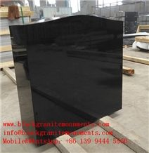 China Absolute Black Granite American Style Polished Monument & Tombstone P5 Upright Headstone