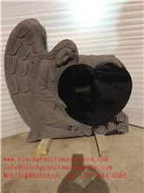 China Shanxi Black Granite Angel with Heart&Roses Monument P5 35x8x34 ,China Supremeshanxi Black Granite Us Style Angel Heart Die Stone Monument