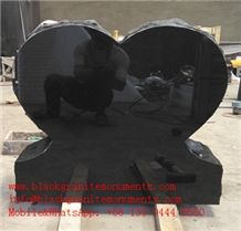 China Shanxi Black Granite Single Heart Monument P2 28x8x24 ,China Supremeshanxi Black Granite Us Style Heart Die Stone Monument