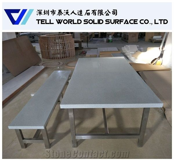 Durable Artificial Marblequartz Top Restaurant Dining Table Set From