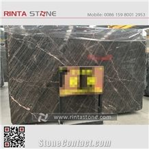 China Dark Brown Ouwang Marble ,Emperador Black Hubei Stone with Gold Golden Yellow Vein Grain Tiles, Big Gangsaw Slabs Project