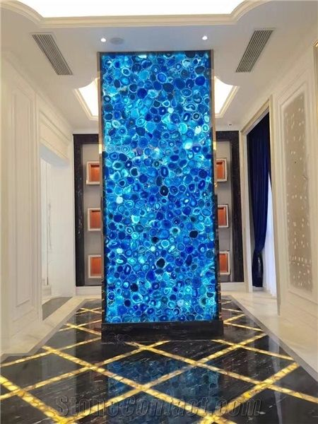 Blue Semi Precious Stone Panels Backlit Agate Wall From