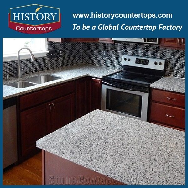 Fujian Granite G640 Polished Countertops For Whole Price Standard Size Sardinian White Luna Pearl Kitchen Bench Tops