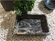 Iranian Green Marble Van Gogh Rectangular Washing Basins, Man-Made Vanity Sinks, Bathroom Sinks, Natural Stone Washbasins