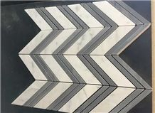 Polished Mosaics Mixed with Multicolor Marble,Type No. Bc-Mc1203,Can Be Made Of White and Black Marble,White and Grey Marble, Accept Customized Colors