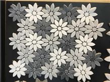 Polished Mosaics Mixed with Multicolor Marble,Type No. Bc-Mc1205,Can Be Made Of White and Black Marble,White and Grey Marble, Accept Customized Colors