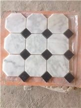 Polished Mosaics Mixed with Multicolor Marble,Type No. Bc-Mc1206,Can Be Made Of White and Black Marble,White and Grey Marble, Accept Customized Colors
