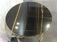 Polished Natural Sahara Noir Round Marble Tabletop, Noir Aziza/Golden Black/Noir Serpents Table Top for Hotel Buildings,Restaurant,Coffee Shops
