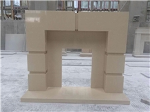 Artficial Beige Marble Fireplace Mantel