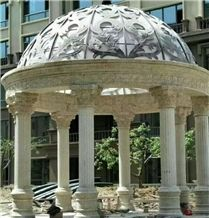 Big Elegant Classic White Marble Garden Gazebo, Hand Carved Wholesale Marble Cheap Garden Gazebo