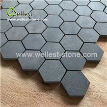 Grey Basalt Honed Hexagon Mosaic for Bathroom Wall and Floor