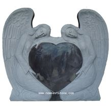 Factory Directly Offer Carved Angel Heart Headstone Monument Granite Tombstone Price