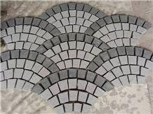 Fan-Shape Granite Paving Stone with Net on the Back, Driveway Walkway Stepping Garden Back Netting Fan Shape Cobble, Fan Shaped Cobble Stone,