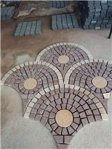 Red Porphyry Fan-Shape Granite Paving Stone with Net on the Back, Fan Shape Mesh Paving Stone Granite Driveway Paver Tile, China Red Porphyry