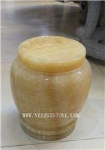 Resin Yellow Jade Urn,Rosin Yellow Jade Funeral Monumental Ash Urns