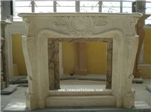 Sunny Beige Marble,Sunny Medium,Sunny Light,Sunny Dark,Sunny Beige Marble Hand Carved Fireplace Surrounds