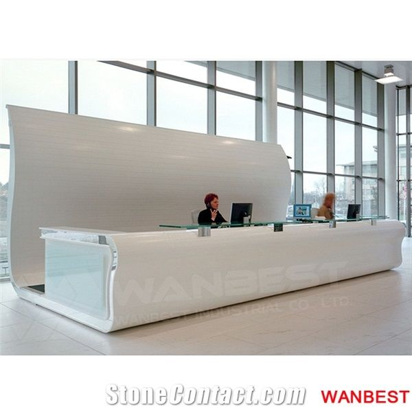 Luxury White Solid Surface Acrylic Curved Hotel Lobby Shopping Mall
