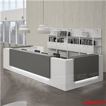 Modern Artificial Stone Acrylic Led U Shape Office Company Salon Clinic Library Hotel Lobby 2 Person Reception Area Counter Desk Design with Light