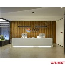 modern artificial stone solid surface illuminated led long hotel airport company beauty salon spa reception desk bank restaurant cashier counter